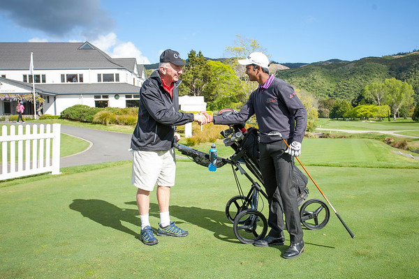 Sunit Chowrasia from India with caddy George Kirk on Practice Day 1 of the Asia-Pacific Amateur Championship tournament 2017 held at Royal Wellington Golf Club, in Heretaunga, Upper Hutt, New Zealand from 26 - 29 October 2017. Copyright John Mathews 2017.   www.megasportmedia.co.nz