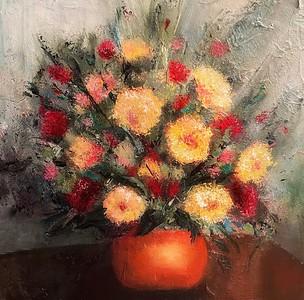 """Chrysanthemums in a Vase"" (mixed media) by Lindalee Holmes"