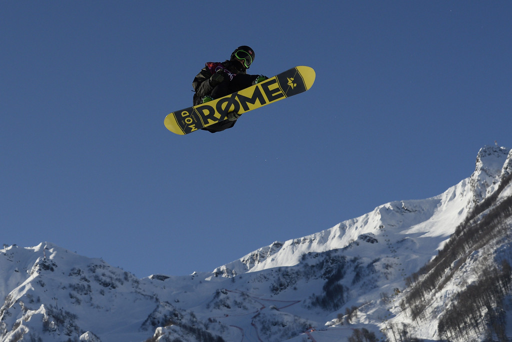 . Norway\'s Staale Sandbech competes in the Men\'s Snowboard Slopestyle 1st heat qualification at the Rosa Khutor Extreme Park during the Sochi Winter Olympics on February 6, 2014.  AFP PHOTO / FRANCK FIFE/AFP/Getty Images