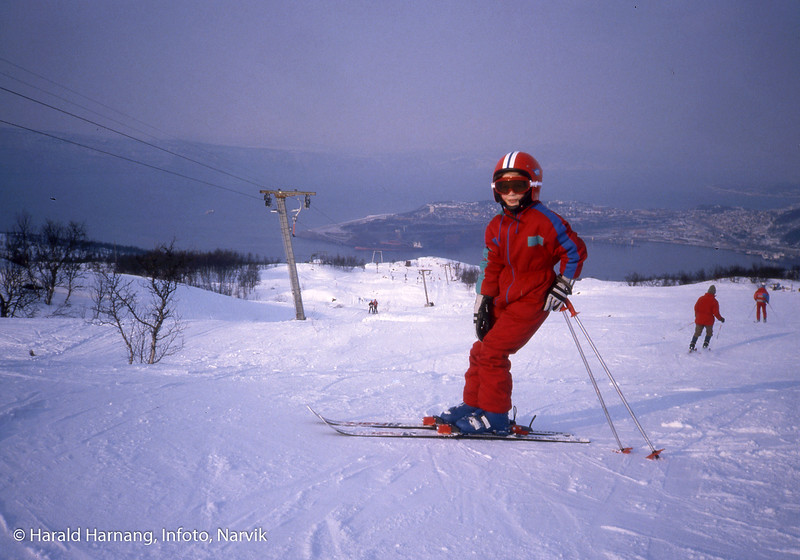 Ankenes alpinanlegg. På bildet Marie Harnang.