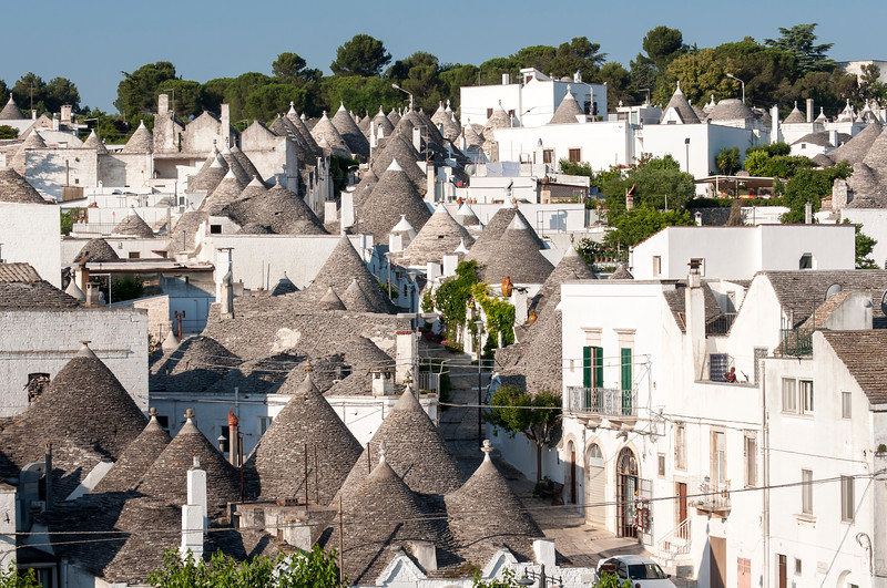 Elevated view of Conical Roofs of Trulli in Rione Monti District of Alberobello, Puglia, Italy