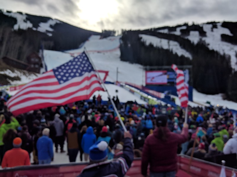 This is a crappy picture of the GS but if you look closely, you can't see that Ligety is in the gate.