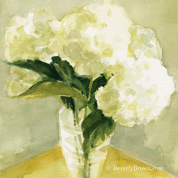 White Hydrangea floral wall art for sale by watercolor artist Beverly Brown - www.beverlybrown.com