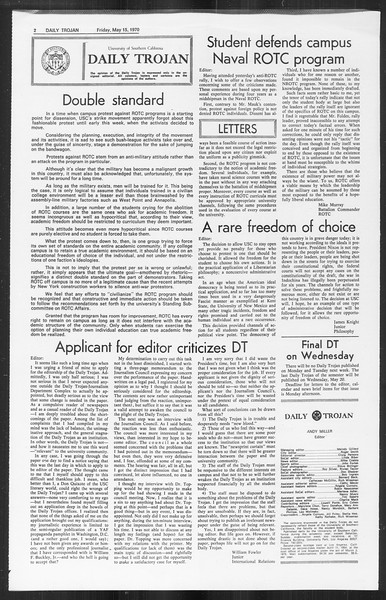 Daily Trojan, Vol. 61, No. 126, May 15, 1970