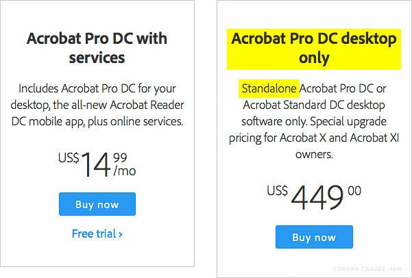 Adobe.com webpage for ordering Acrobat Pro DC