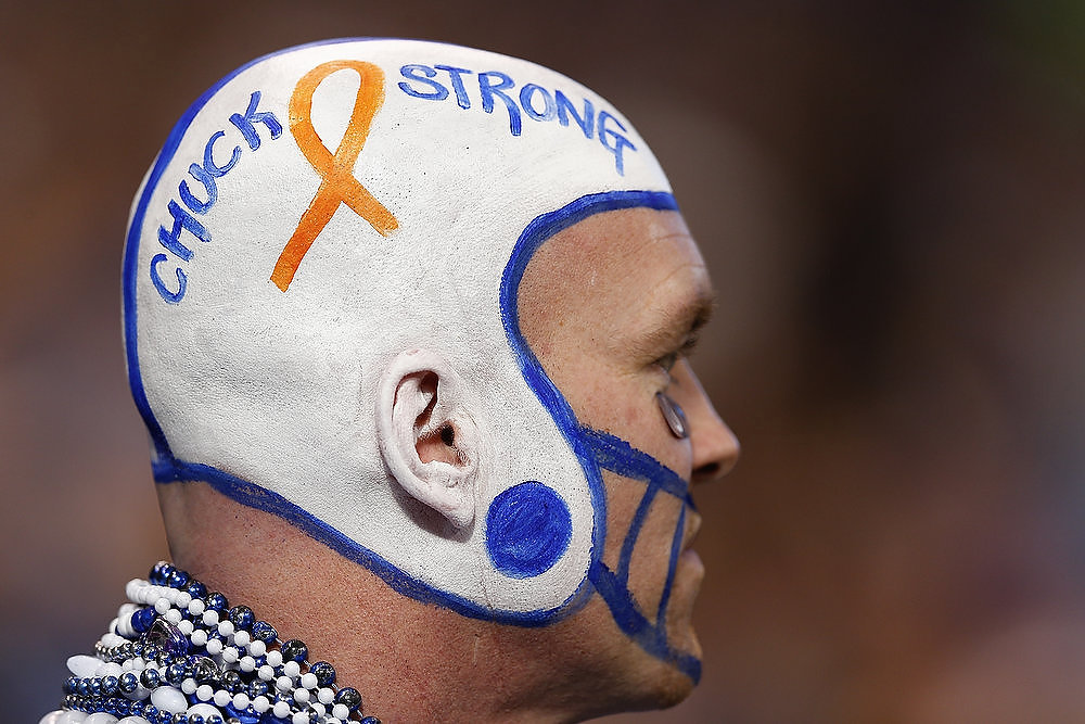 Description of . An Indianapolis Colts fan shows his support for head coach Chuck Pagano during the game against the Houston Texans at Lucas Oil Stadium on December 30, 2012 in Indianapolis, Indiana. Pagano has been sidelined on medical leave for three months with leukemia. (Photo by Joe Robbins/Getty Images)
