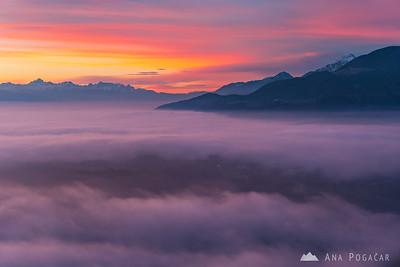 Foggy sunset from Špica - Jan 28, 2018