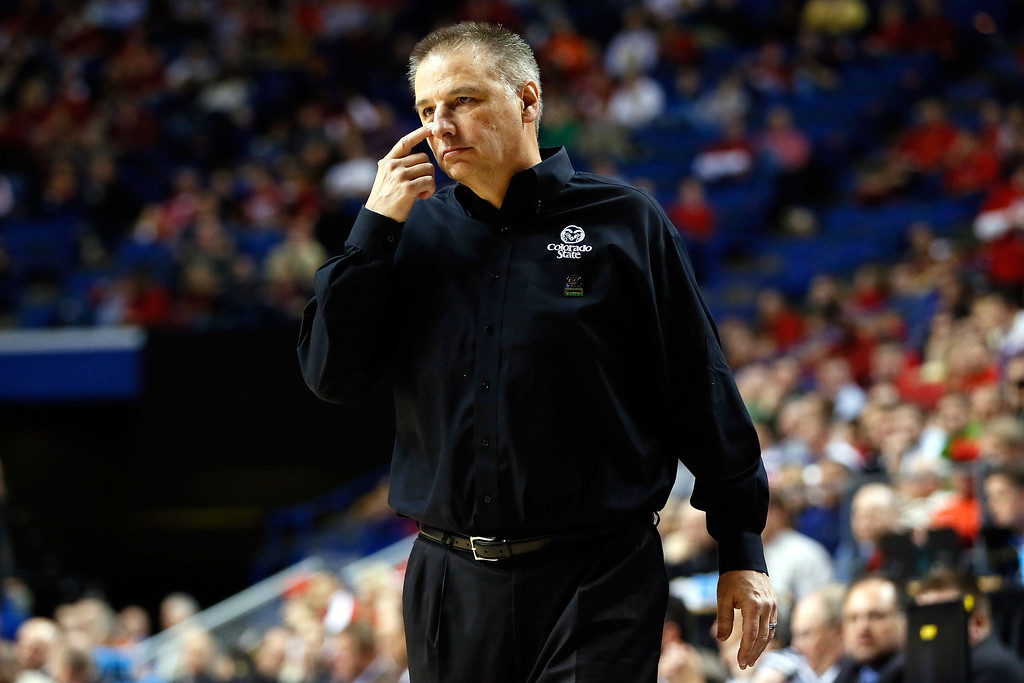. LEXINGTON, KY - MARCH 21:  Head coach Larry Eustachy of the Colorado State Rams gestures from the bench against the Missouri Tigers during the second round of the 2013 NCAA Men\'s Basketball Tournament at the Rupp Arena on March 21, 2013 in Lexington, Kentucky.  (Photo by Kevin C. Cox/Getty Images)