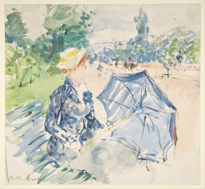 """A Woman Seated at a Bench on the Avenue du Bois"" by Berthe Morisot (watercolor) - Metropolitan Museum of Art"