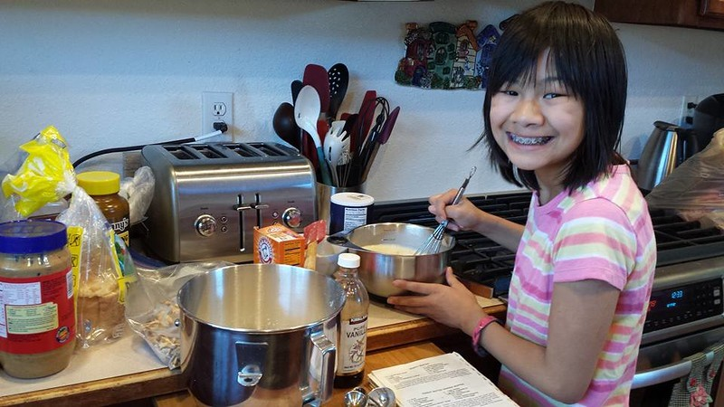 Making banana peanut butter muffins