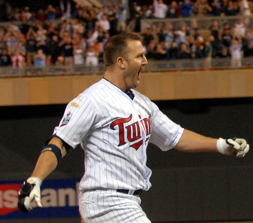 . Twins desiginated hitter Jim Thome approaches home plate after hitting a two run walk off home run in the bottom of the tenth to beat the Chicago White Sox 7-6 at Target Field in Minneapolis on Tuesday August 17, 2010. (Pioneer Press: John Autey)