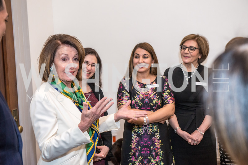 Speaker Nancy Pelosi, Leila Austin, Dr. Negar Golesorkhi, Ms. Katayoon Shaya, Iranian-American Nowruz Reception, Washington, DC, Carnegie Institute of Science, March 15, 2018.  Photo by Ben Droz.