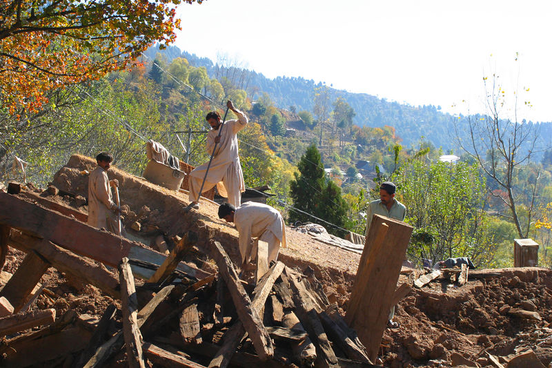 The timber is being recycled, but it seems there is such a rush to build something before the snows start that the construction method is not going to change.