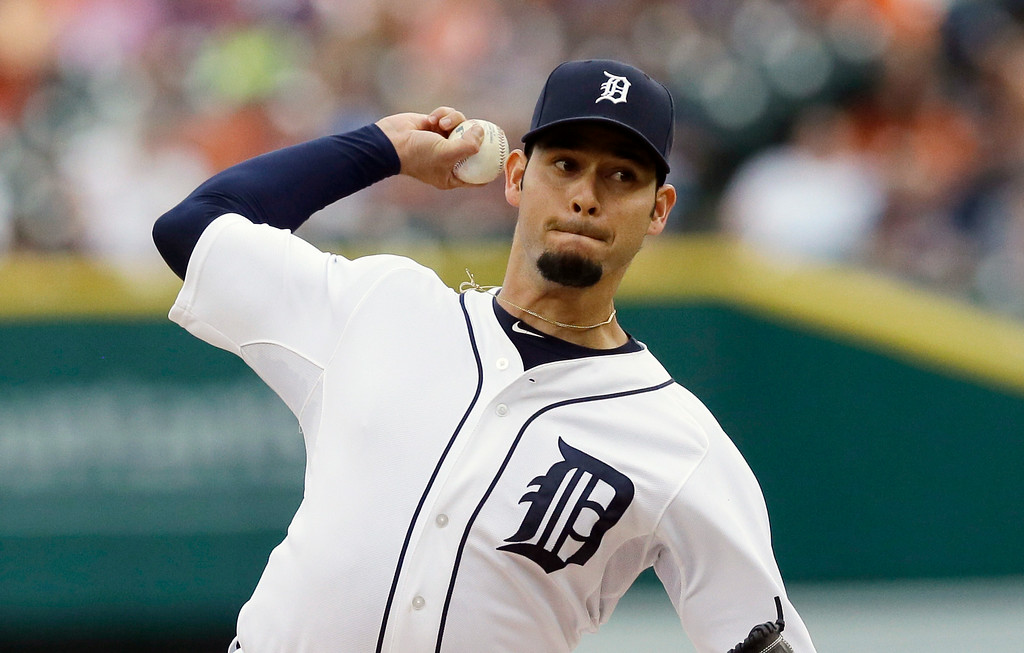 . Detroit Tigers starting pitcher Anibal Sanchez throws during the first inning of a baseball game against the Cleveland Indians in Detroit, Friday, July 18, 2014. (AP Photo/Carlos Osorio)