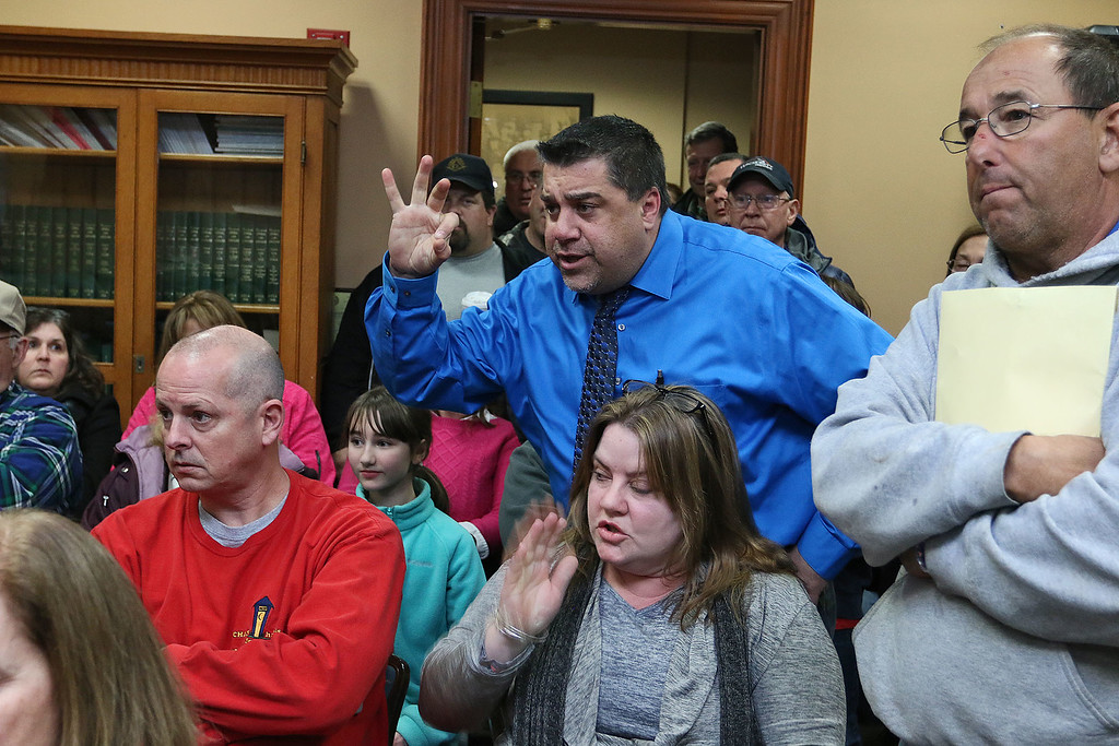 . Residents filled the Townsend Selectmen\'s chambers during their meeting set for 6 p.m. on Tuesday February 14, 2017 and caused them to chancel the meeting. Resident Stephen Sheldon tries to make a point in the chambers. SENTINEL & ENTERPRISE/JOHN LOVE