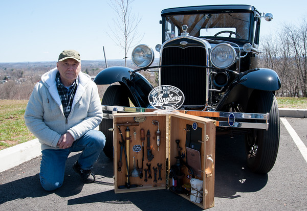 04/21/18 Wesley Bunnell | Staff Jack Zolnick poses with his trophy for Best Special Feature Car for his 1931 Ford Model A with a rare tool kit at the Klingberg Family Center. The Klingberg Vintage Motorcar Series held their April event on Saturday with a focus on the Ford Model A.