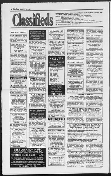 Daily Trojan, Vol. 119, No. 11, January 28, 1993