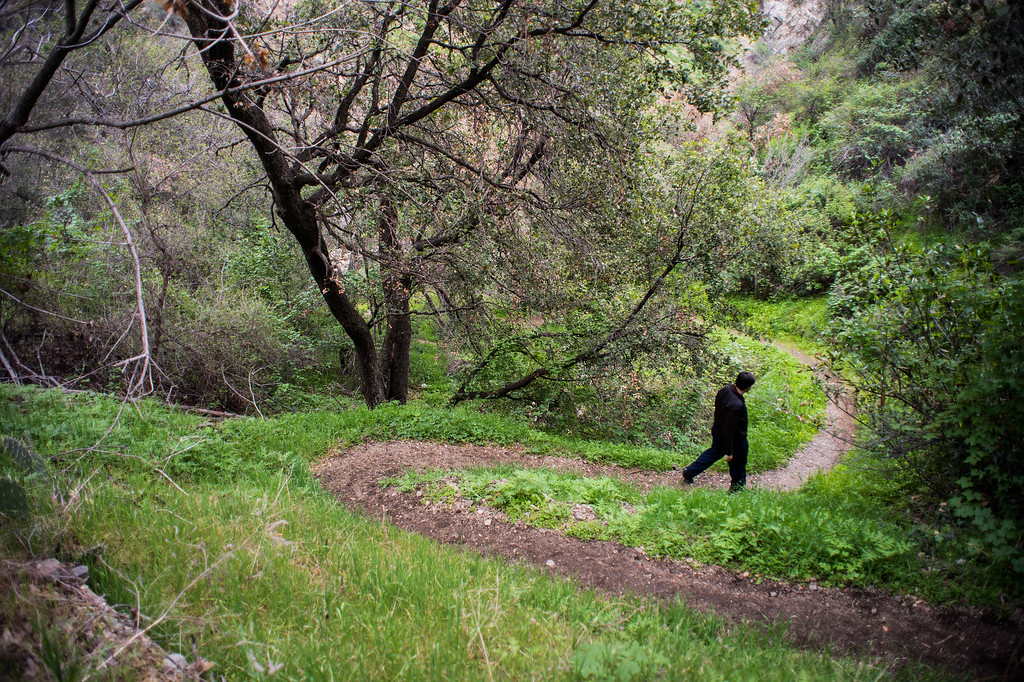 . A man leaves Fish Canyon Falls trail in Angeles National Forest on Friday, February 27, 2015. Duarte received a $25,000 grant from Los Angeles County to rehabilitate the trail. (Photo by Sarah Reingewirtz/Pasadena Star-News)