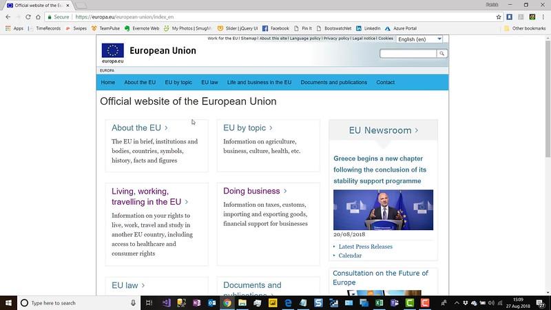 The EU's website has no cookie notice (August 2018)