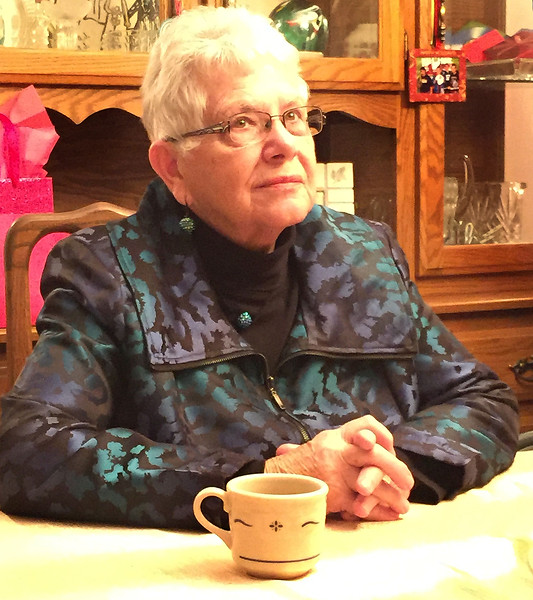 Mom at Frank & Amy's house - dessert time!  January 28, 2017