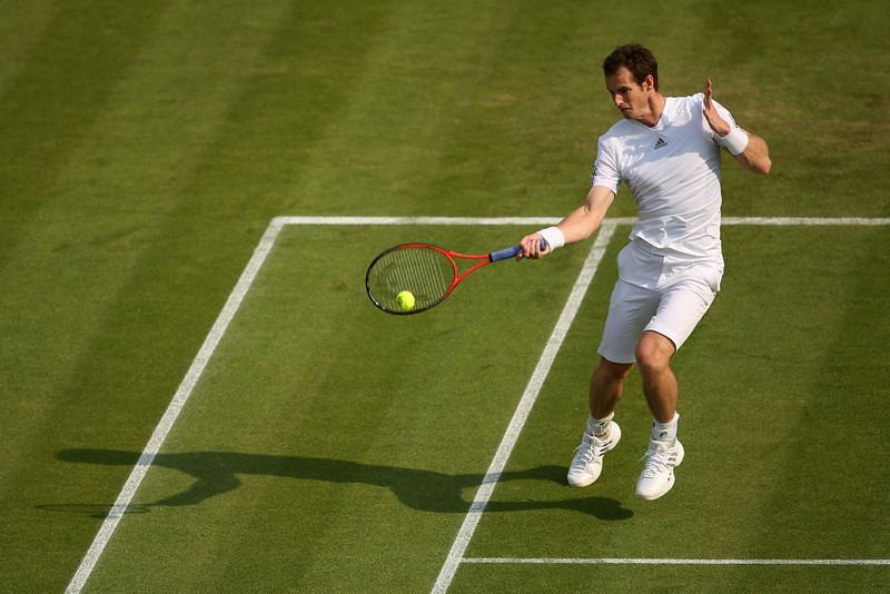 . Andy Murray of Great Britain plays a forehand during his Gentlemen\'s Singles second round match against Lu Yen-Hsun of Taipei on day three of the Wimbledon Lawn Tennis Championships at the All England Lawn Tennis and Croquet Club on June 26, 2013 in London, England.  (Photo by Clive Brunskill/Getty Images)