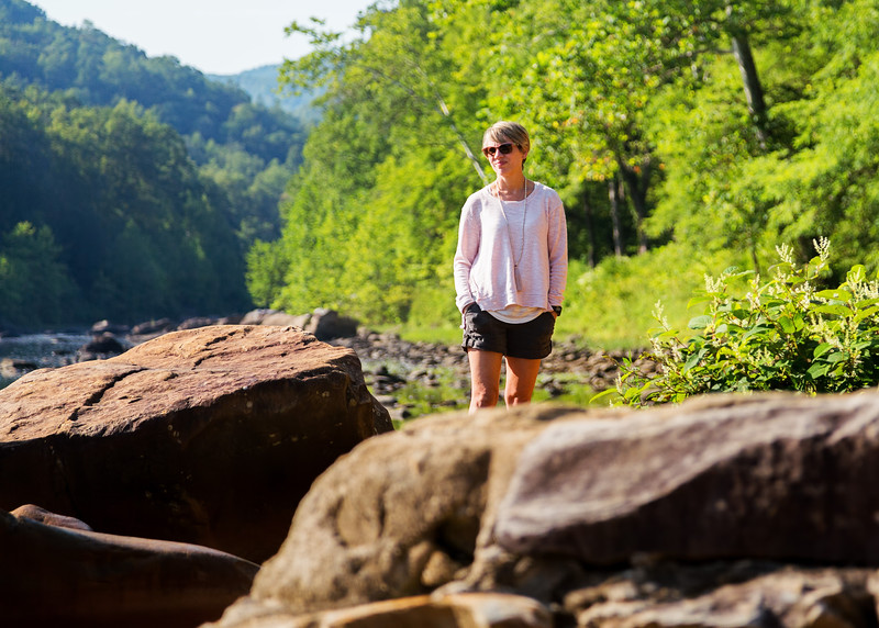 Michele along Cheat River, West Virginia, just past Reedsville