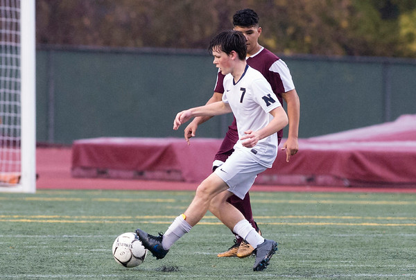 10/29/19 Wesley Bunnell | StaffrrNew Britain soccer was defeated 2-0 by Newington during a drizzle at Veterans Stadium on Tuesday afternoon. Newingtn's Reed Campbell (7).