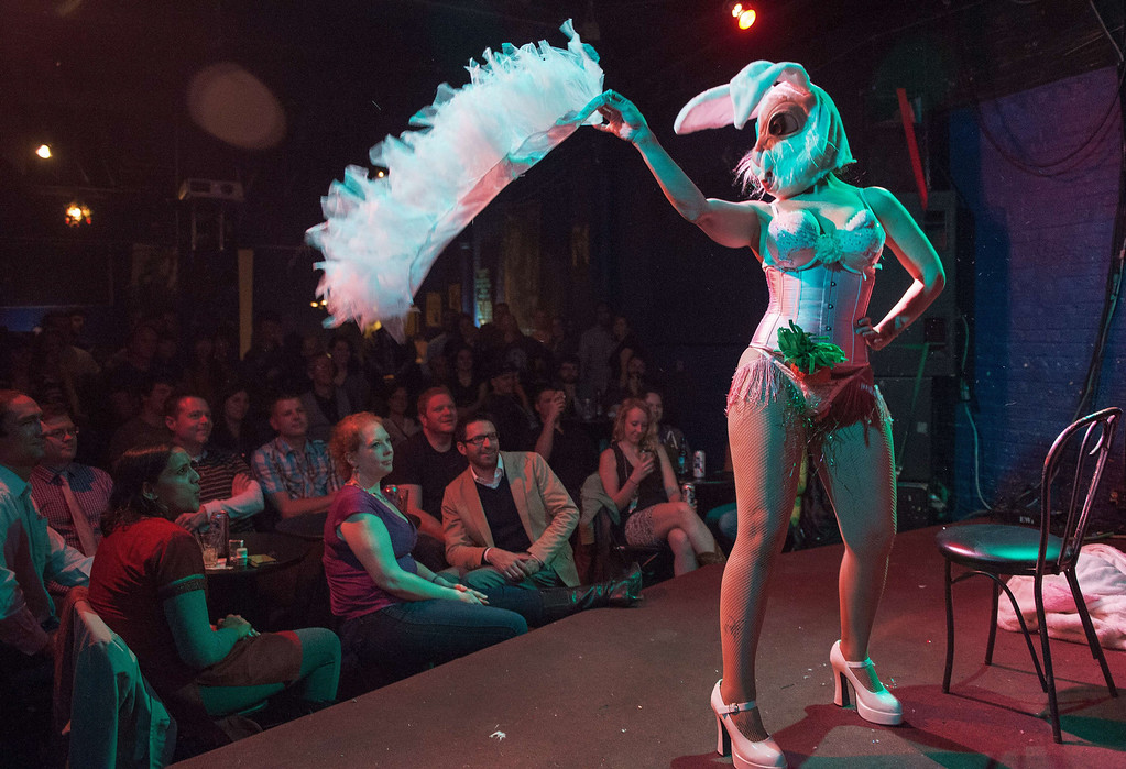 . A burlesque dancer performs her Easter act at the Black Cat club in Washington, DC, April 18, 2014.      PAUL J. RICHARDS/AFP/Getty Images