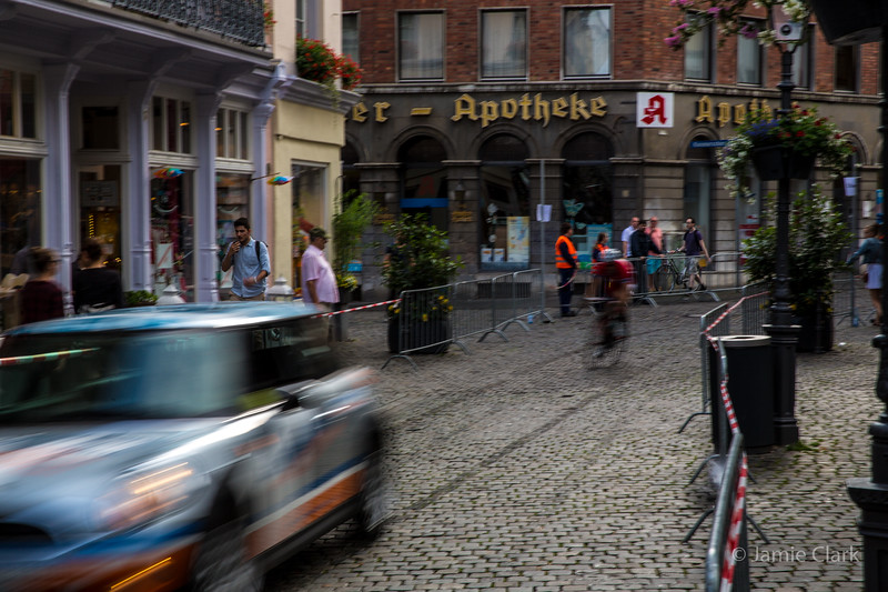Bicycle race on cobblestone. Aachen, Germany