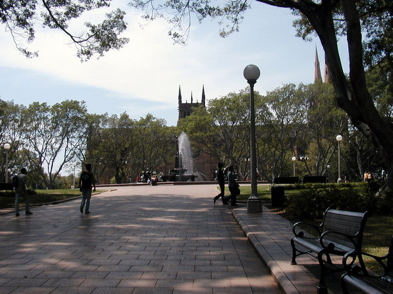 Hyde Park Archibald Fountain and St Marys Cathedral