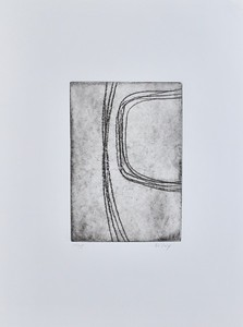"""Curved Lines #4 by Riley, (10/35) etching on 15""""x11"""" paper"""