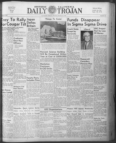 Daily Trojan, Vol. 30, No. 20, October 13, 1938