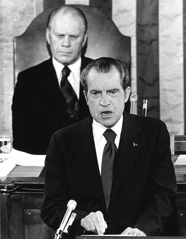 . This picture, with Gerald Ford seated behind him, shows President Richard Nixon delivering a State of the Union message before a joint session of Congress in Washington in January, 1974.  (AP Photo)