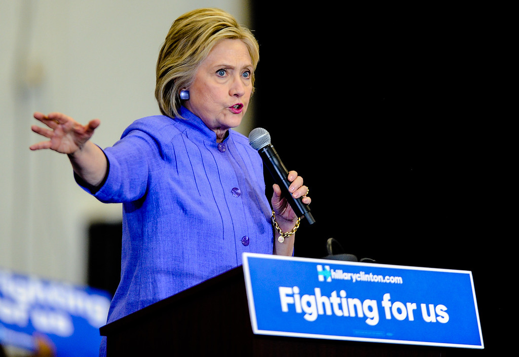 . Democratic presidential candidate Hillary Clinton speaks during her campaign rally at Cal State San Bernardino in San Bernardino, CA on Friday, June 3, 2016. (Photo by Rachel Luna/The Sun, SCNG)