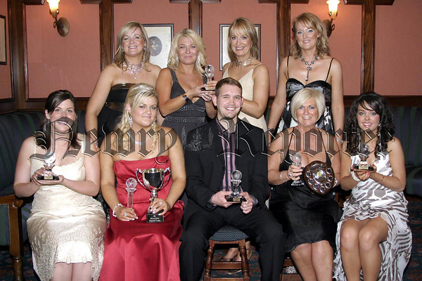 Aine Larkin, principal of You Nique College of Beauty and Holistics, accompanied by her sisters and business partners, Bernadine Cunningham and Roisin O'Hanlon,  presents Donna McCullough from Larne with the Highly Commended Beauty Specialist Award at the college's annnual awards night in the Canal Court Hotel. Also pictured are Ashley Kernaghan of Katesbridge and native of Kentucky, for the CIDESCO Thesis Award; Tanya McArdle of Clady for the Best Full Time Student of the Year with the Claire Collins Perpetual Trophy; Ivan Stone from Johannesburg, currently resident in Bangor, for the Best Holistics Student of the Year; Charlotte Maxwell of Magheralin with the award for the Best Part Time Beauty Specialist Student of the Year and Rosalind Mackin from Newry with the award for the CIDESCO Specialist Subject Award for Henna Design.         Picture:Traolach Hollywood
