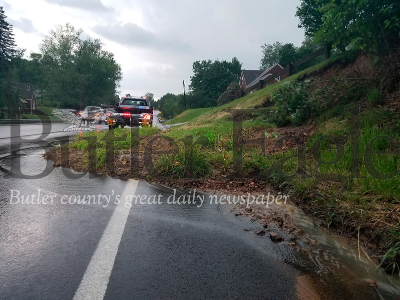 Middlesex Township Police watched over the aftermath of a landslide
