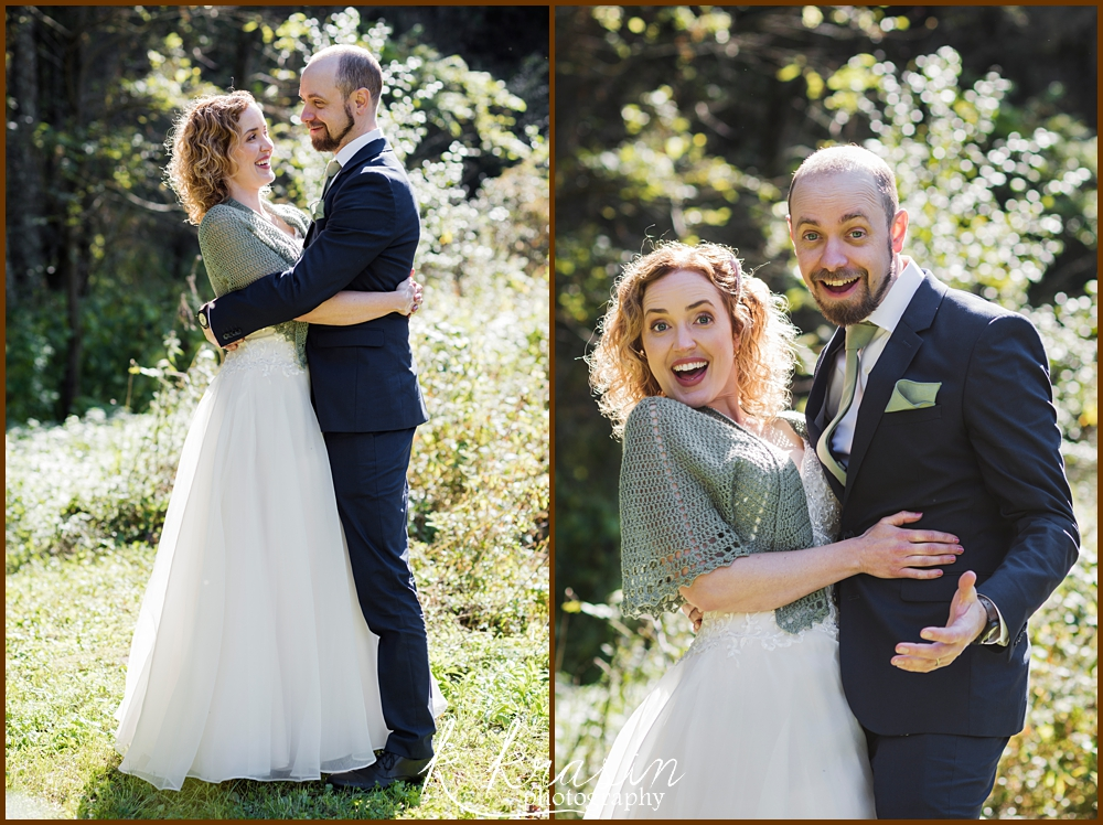 Collage of photos of bride and groom showing excitement after ceremony