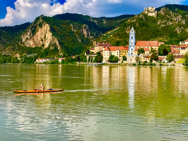 Single kayaker on Danube River