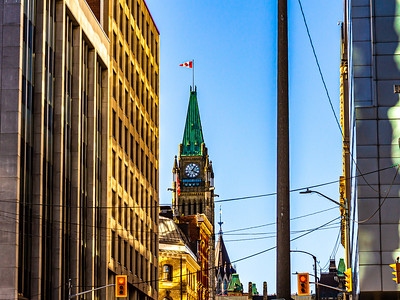 The Peace Tower from Downtown Ottawa Streets