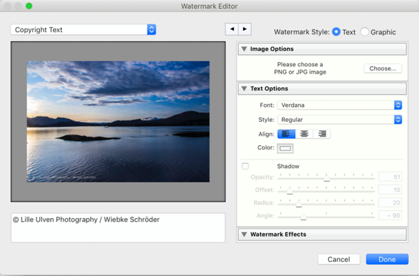 Watermark Editor with a saved preset