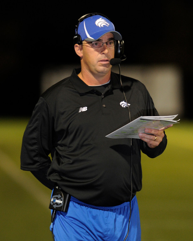 . HIGHLANDS RANCH, CO. - SEPTEMBER 13: John Schultz is head coach of the Wolves. The ThunderRidge High School football team hosted Grandview at Shea Stadium Friday night, September 13, 2013.  Photo By Karl Gehring/The Denver Post