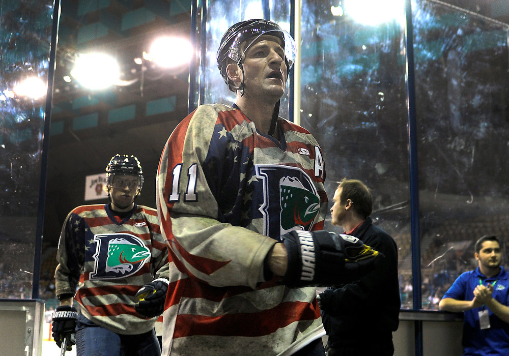 . Denver Cutthroats\' 39-year-old forward Brad Smyth skated off the ice following the first period Friday night. Smyth has played for an incredible 21 different pro hockey teams in his career. The Allen Americans defeated the Denver Cutthroats 2-1 Friday night at the Denver Coliseum. Smyth had the team\'s only goal in the loss. Karl Gehring/The Denver Post