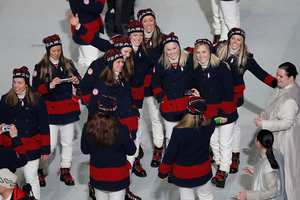 . U.S. Olympians enter the Fisht Stadium as part of the 2014 Sochi Winter Olympics Closing Ceremony at Fisht Olympic Stadium on February 23, 2014 in Sochi, Russia.  (Photo by Joe Scarnici/Getty Images)