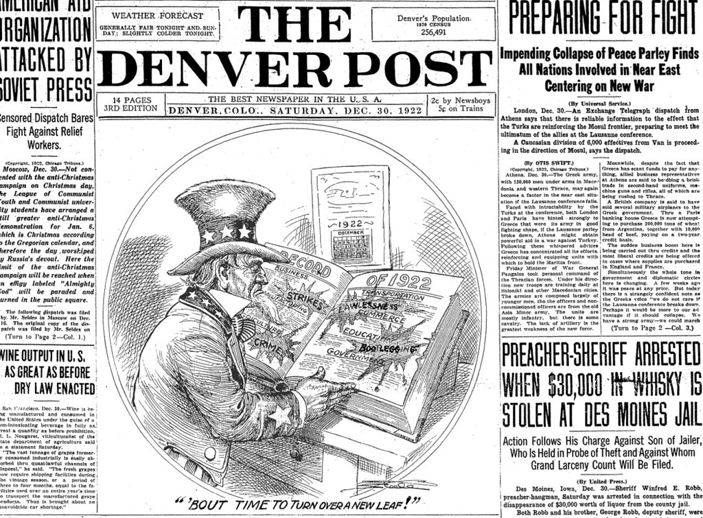 . The front page of The Denver Post on December 30, 1922 illustrated a year full of problems due to prohibition.