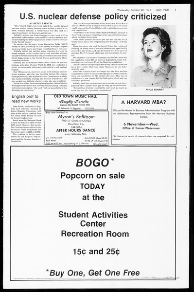 Daily Trojan, Vol. 67, No. 32, October 30, 1974