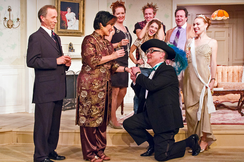 """. A scene from \""""The Sisters Rosenweig\"""" (from left): First row John Forman, Sandra Birch, Lindel Salow. 2nd row Madison Deadman, Kristin Condon. 3rd Row Emily Rose, Eric Eilersen, Phil Powers. Photo by Jan Cartwright"""