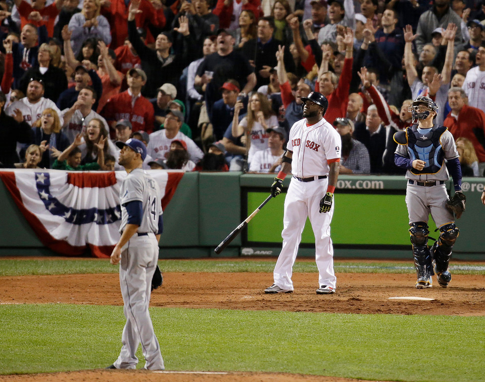 . Boston Red Sox designated hitter David Ortiz watches his second home run of the night off Tampa Bay Rays starting pitcher David Price, left, in front of Rays catcher Jose Molina, right, in the eighth inning in Game 2 of baseball\'s American League division series Saturday, Oct. 5, 2013, in Boston. (AP Photo/Stephan Savoia)