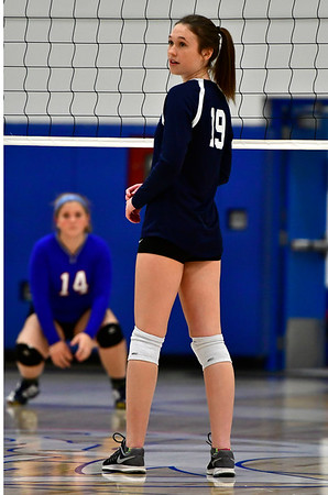 11/7/2018 Mike Orazzi | Staff Immaculate's Finan Deakin (19) during the Class S Second Round Girls Volleyball Tournament in Bristol Wednesday night.