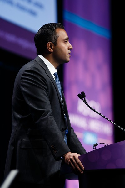 Arjun Vasant Balar, MD, presenting abstract LBA4500, Atezolizumab (atezo) as first-line (1L) therapy in cisplatin-ineligible locally advanced/metastatic urothelial carcinoma (mUC): Primary analysis of IMvigor210 cohort 1 during Genitourinary (Nonprostate) Cancer Oral Abstract Session