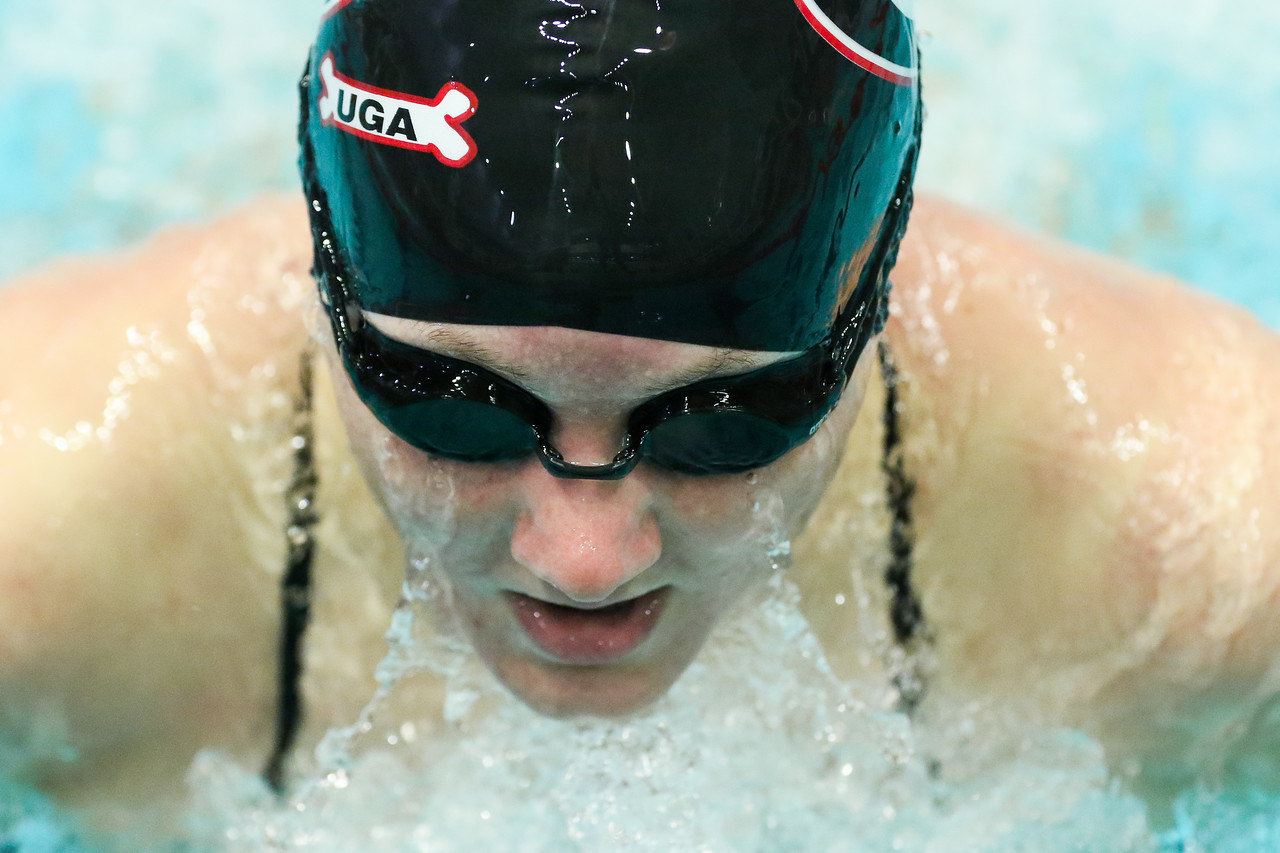 Georgia swimmer Danielle Della Torre competes in the women's 200 yard IM during a swimming and diving meet against Texas A&M at the Gabrielsen Natatorium in Athens, Ga., on Sat., Jan. 11, 2020. (Photo by Chamberlain Smith)